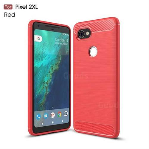 Luxury Carbon Fiber Brushed Wire Drawing Silicone TPU Back Cover for Google Pixel 2 XL (Red)