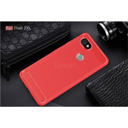 new style 19325 09ffc Luxury Carbon Fiber Brushed Wire Drawing Silicone TPU Back Cover for Google  Pixel 2 XL (Red)