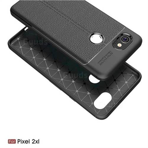 best website cd675 219c7 Luxury Auto Focus Litchi Texture Silicone TPU Back Cover for Google Pixel 2  XL - Black