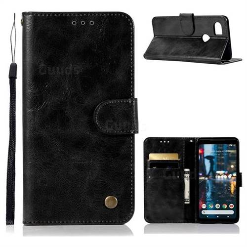 Luxury Retro Leather Wallet Case for Google Pixel 2 XL - Black