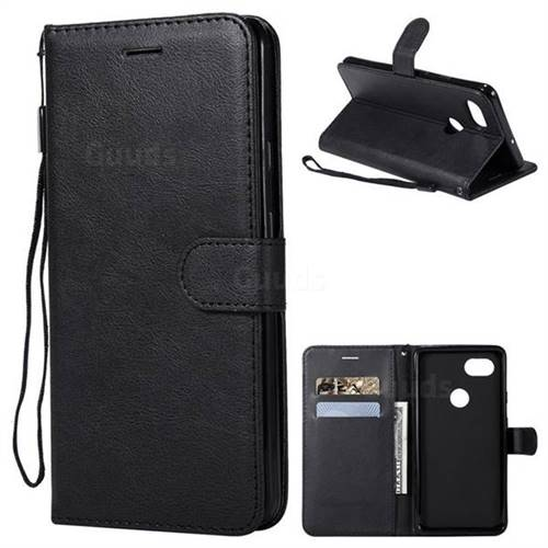 Retro Greek Classic Smooth PU Leather Wallet Phone Case for Google Pixel 2 XL - Black