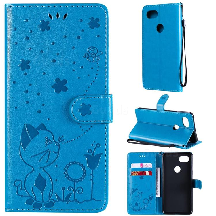 Embossing Bee and Cat Leather Wallet Case for Google Pixel 2 XL - Blue