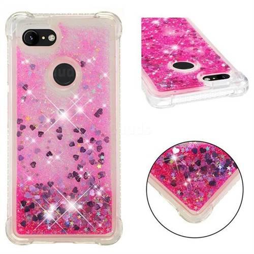Dynamic Liquid Glitter Sand Quicksand TPU Case for Google Pixel 3 - Pink Love Heart