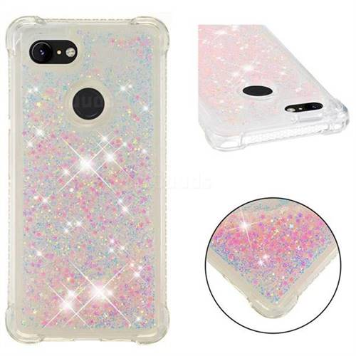 Dynamic Liquid Glitter Sand Quicksand TPU Case for Google Pixel 3 - Silver Powder Star