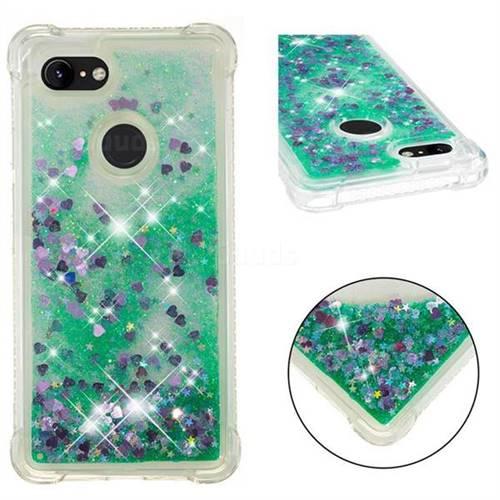 Dynamic Liquid Glitter Sand Quicksand TPU Case for Google Pixel 3 - Green Love Heart