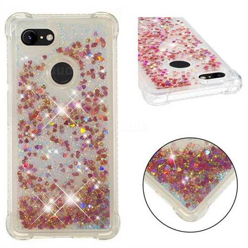 Dynamic Liquid Glitter Sand Quicksand TPU Case for Google Pixel 3 - Rose Gold Love Heart
