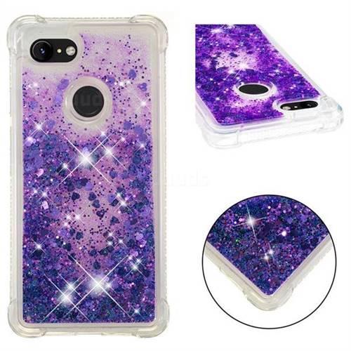 Dynamic Liquid Glitter Sand Quicksand Star TPU Case for Google Pixel 3 - Purple