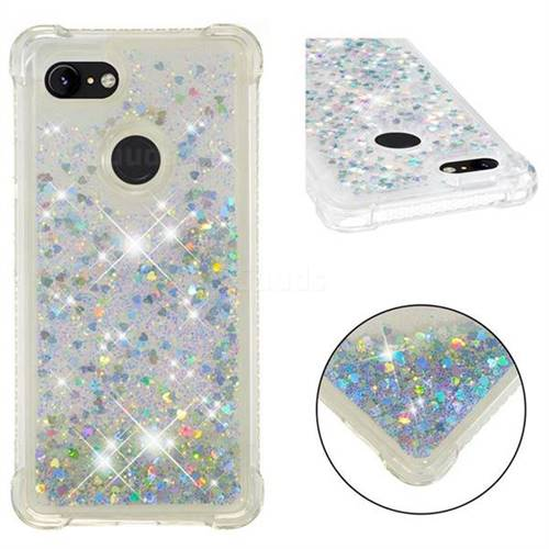 Dynamic Liquid Glitter Sand Quicksand Star TPU Case for Google Pixel 3 - Silver