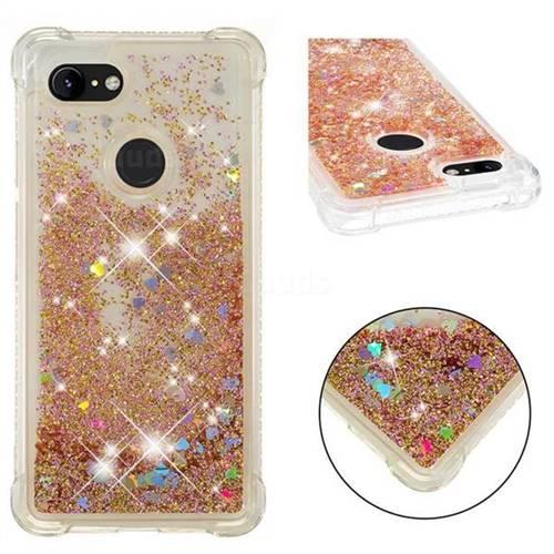 Dynamic Liquid Glitter Sand Quicksand Star TPU Case for Google Pixel 3 - Diamond Gold