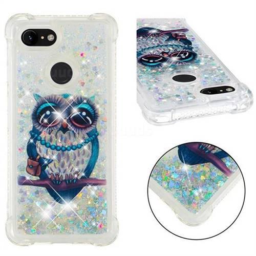 Sweet Gray Owl Dynamic Liquid Glitter Sand Quicksand Star TPU Case for Google Pixel 3