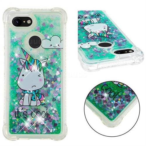 Tiny Unicorn Dynamic Liquid Glitter Sand Quicksand Star TPU Case for Google Pixel 3