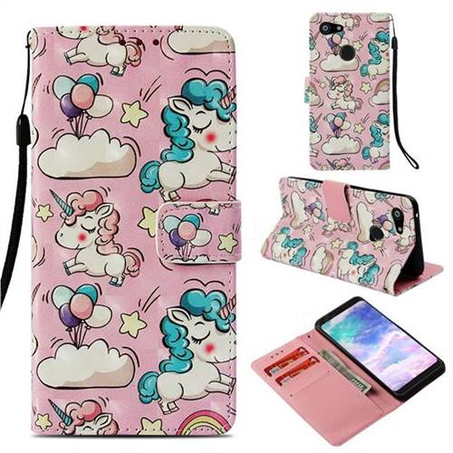 Angel Pony 3D Painted Leather Wallet Case for Google Pixel 3