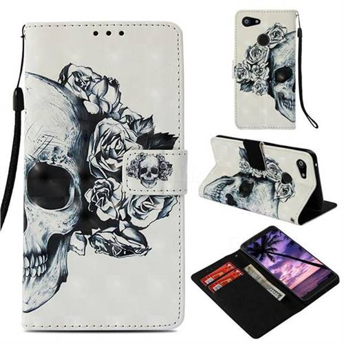 Skull Flower 3D Painted Leather Wallet Case for Google Pixel 3