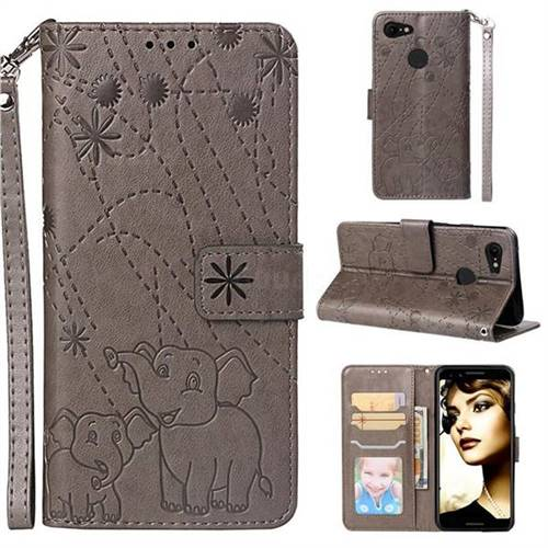 Embossing Fireworks Elephant Leather Wallet Case for Google Pixel 3 - Gray