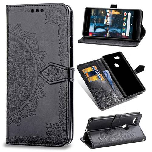 Embossing Imprint Mandala Flower Leather Wallet Case for Google Pixel 3 - Black