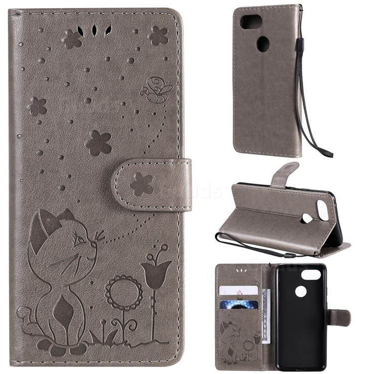Embossing Bee and Cat Leather Wallet Case for Google Pixel 3 - Gray