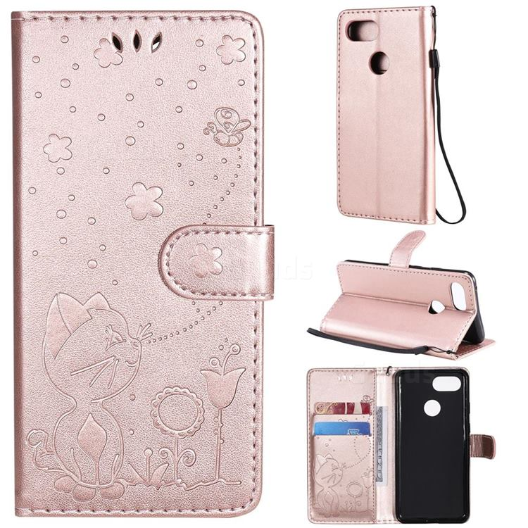 Embossing Bee and Cat Leather Wallet Case for Google Pixel 3 - Rose Gold