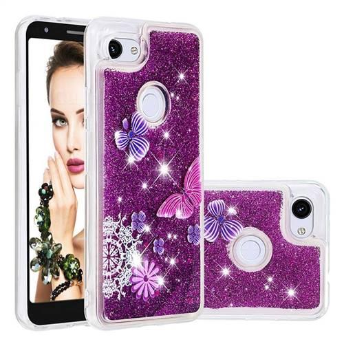 Purple Flower Butterfly Dynamic Liquid Glitter Quicksand Soft TPU Case for Google Pixel 3A