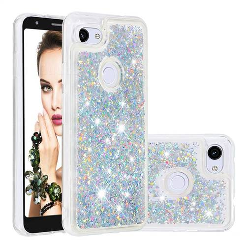 Dynamic Liquid Glitter Quicksand Sequins TPU Phone Case for Google Pixel 3A - Silver