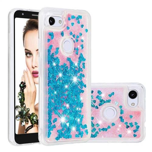 Dynamic Liquid Glitter Quicksand Sequins TPU Phone Case for Google Pixel 3A - Blue