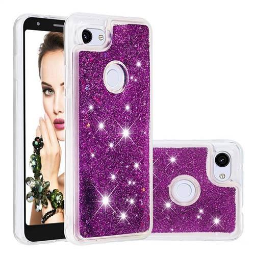 Dynamic Liquid Glitter Quicksand Sequins TPU Phone Case for Google Pixel 3A - Purple