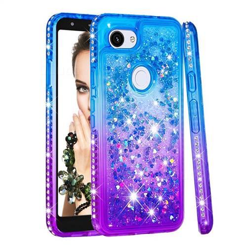 Diamond Frame Liquid Glitter Quicksand Sequins Phone Case for Google Pixel 3A - Blue Purple