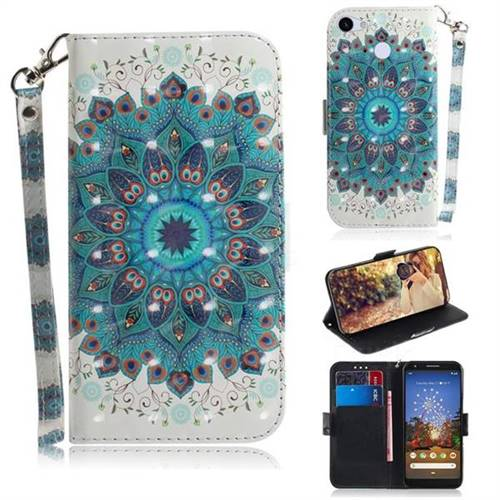 Peacock Mandala 3D Painted Leather Wallet Phone Case for Google Pixel 3A