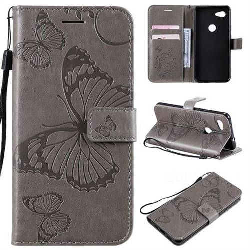Embossing 3D Butterfly Leather Wallet Case for Google Pixel 3A - Gray