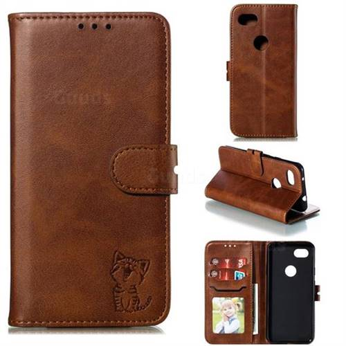 Embossing Happy Cat Leather Wallet Case for Google Pixel 3A - Brown