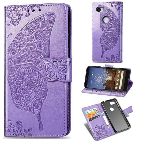 Embossing Mandala Flower Butterfly Leather Wallet Case for Google Pixel 3A - Light Purple