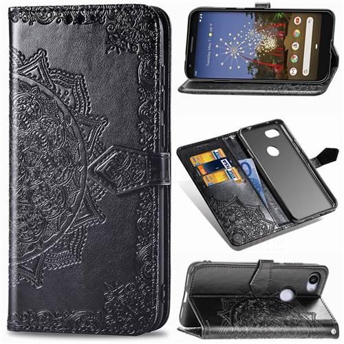 Embossing Imprint Mandala Flower Leather Wallet Case for Google Pixel 3A - Black