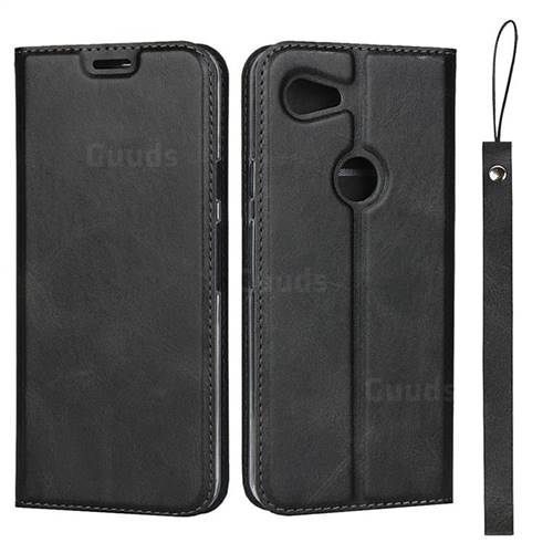 Calf Pattern Magnetic Automatic Suction Leather Wallet Case for Google Pixel 3A - Black