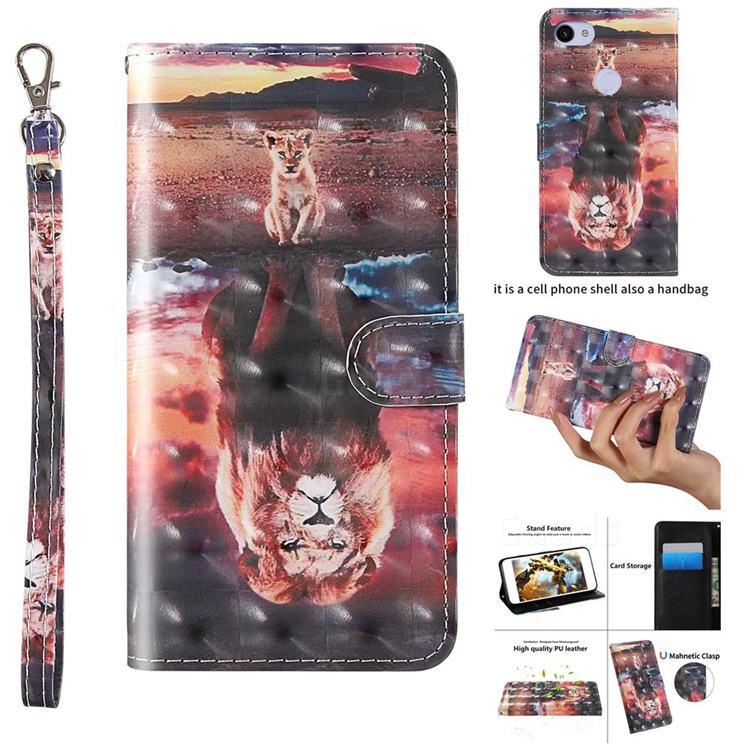Fantasy Lion 3D Painted Leather Wallet Case for Google Pixel 3A