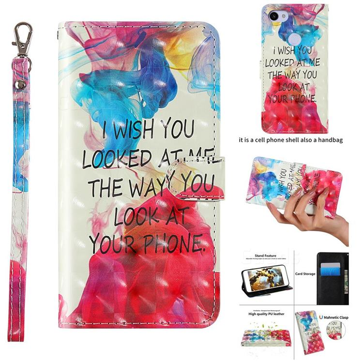 Look at Phone 3D Painted Leather Wallet Case for Google Pixel 3A