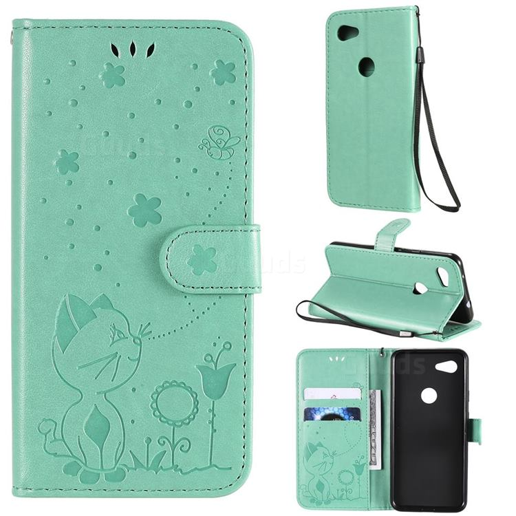 Embossing Bee and Cat Leather Wallet Case for Google Pixel 3A - Green