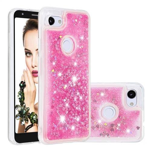Dynamic Liquid Glitter Quicksand Sequins TPU Phone Case for Google Pixel 3A XL - Rose
