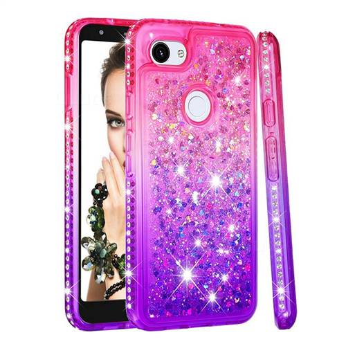 Diamond Frame Liquid Glitter Quicksand Sequins Phone Case for Google Pixel 3A XL - Pink Purple