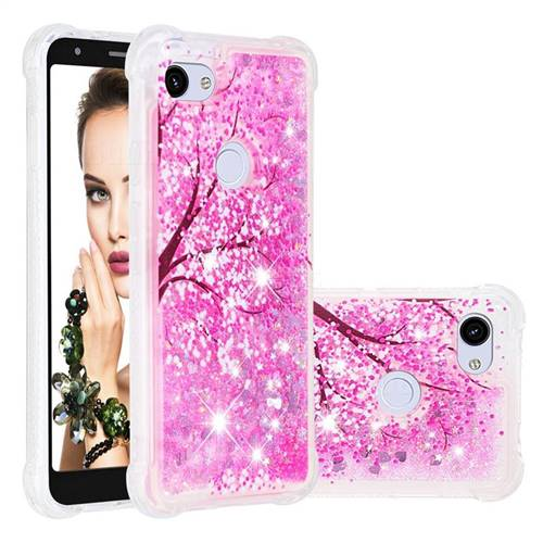Pink Cherry Blossom Dynamic Liquid Glitter Sand Quicksand Star TPU Case for Google Pixel 3A XL