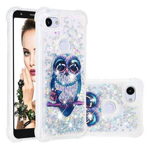 Sweet Gray Owl Dynamic Liquid Glitter Sand Quicksand Star TPU Case for Google Pixel 3A XL