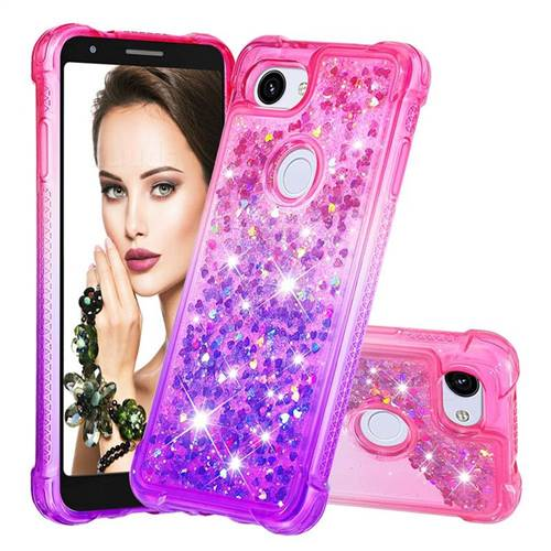 Rainbow Gradient Liquid Glitter Quicksand Sequins Phone Case for Google Pixel 3A XL - Pink Purple