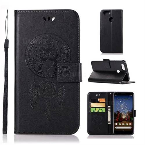 Intricate Embossing Owl Campanula Leather Wallet Case for Google Pixel 3A XL - Black