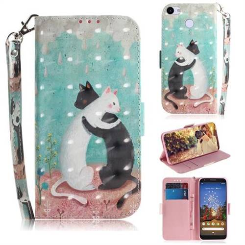 Black and White Cat 3D Painted Leather Wallet Phone Case for Google Pixel 3A XL