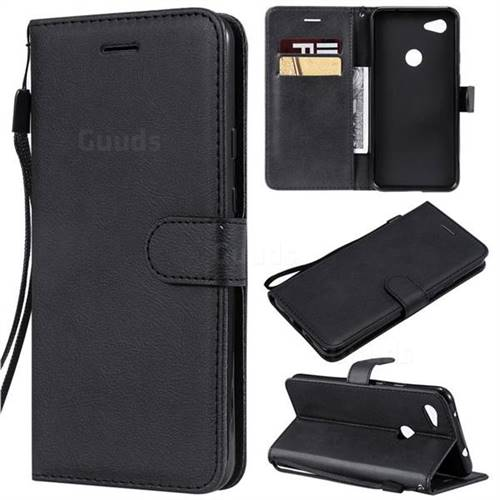 Retro Greek Classic Smooth PU Leather Wallet Phone Case for Google Pixel 3A XL - Black