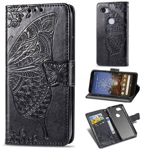 Embossing Mandala Flower Butterfly Leather Wallet Case for Google Pixel 3A XL - Black