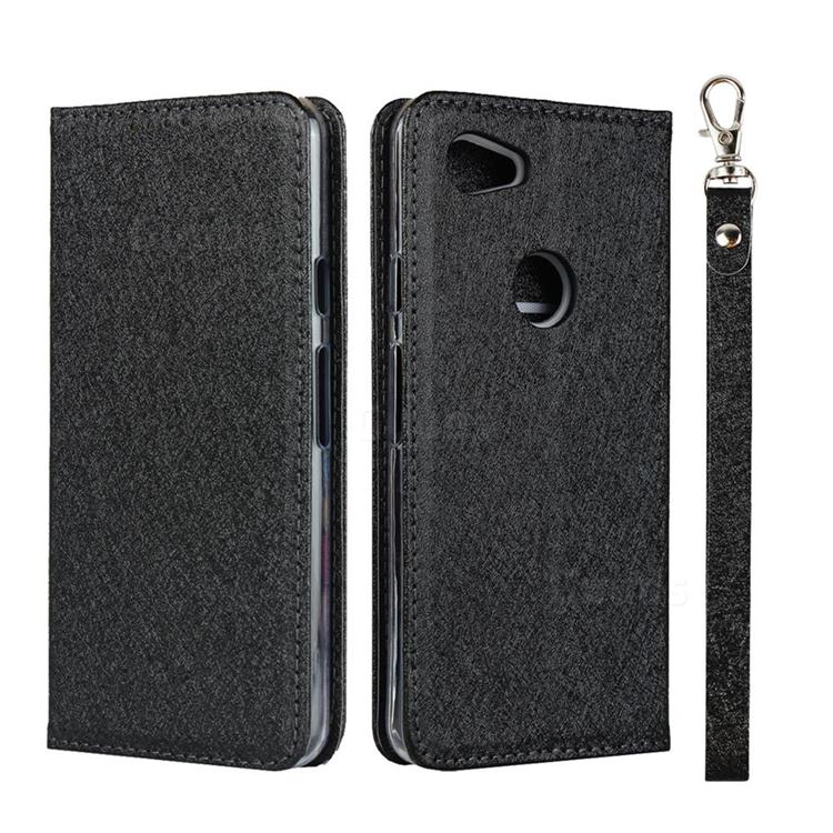 Ultra Slim Magnetic Automatic Suction Silk Lanyard Leather Flip Cover for Google Pixel 3A XL - Black