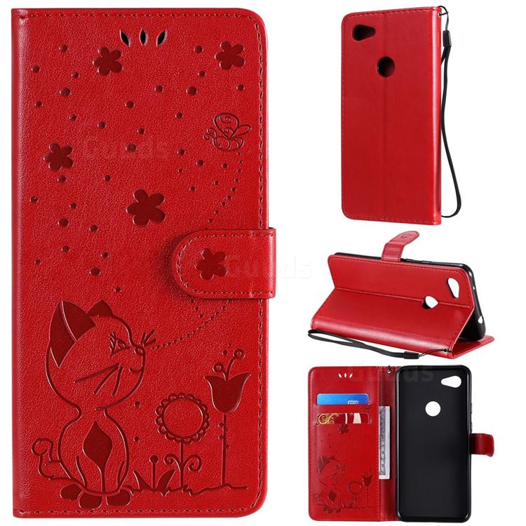 Embossing Bee and Cat Leather Wallet Case for Google Pixel 3A XL - Red