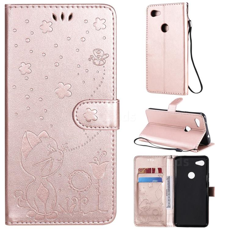 Embossing Bee and Cat Leather Wallet Case for Google Pixel 3A XL - Rose Gold