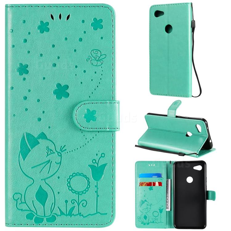 Embossing Bee and Cat Leather Wallet Case for Google Pixel 3A XL - Green