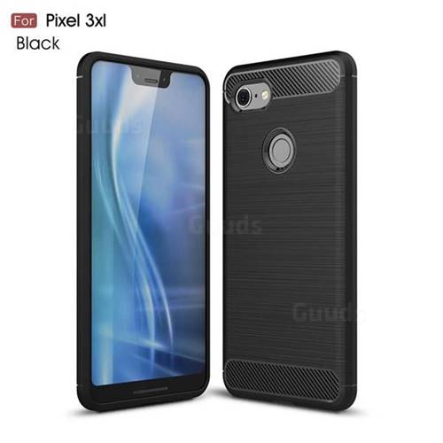 Luxury Carbon Fiber Brushed Wire Drawing Silicone TPU Back Cover for Google Pixel 3 XL - Black