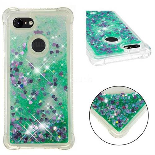 Dynamic Liquid Glitter Sand Quicksand TPU Case for Google Pixel 3 XL - Green Love Heart